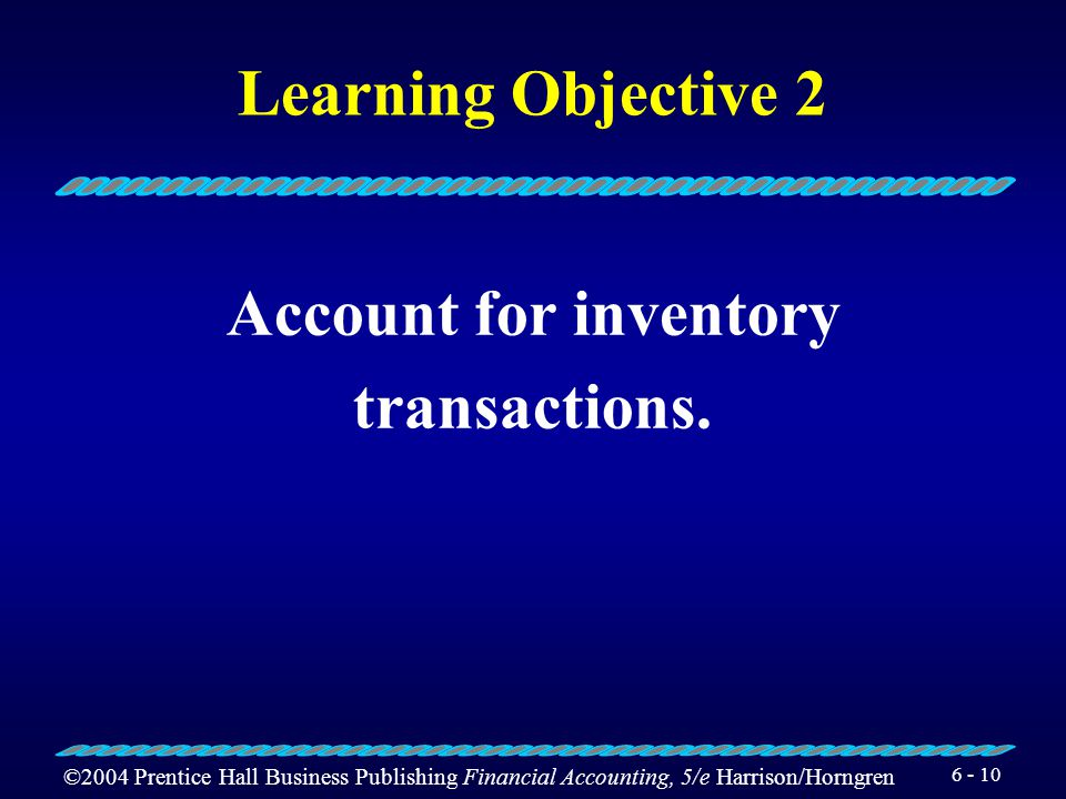 Learning Objective 2 Account for inventory transactions.