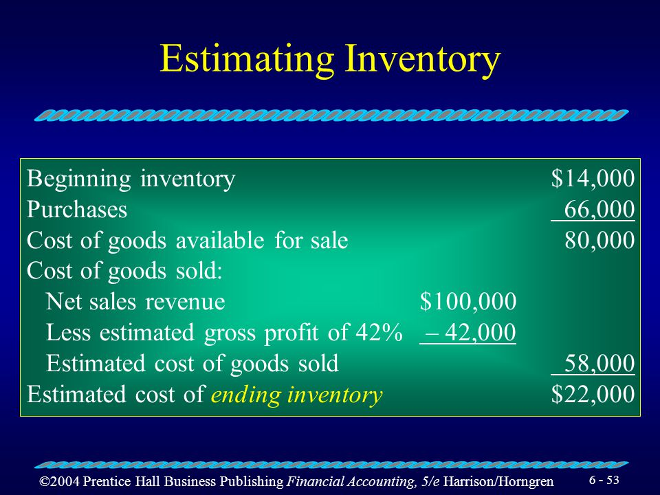 Estimating Inventory Beginning inventory $14,000 Purchases 66,000