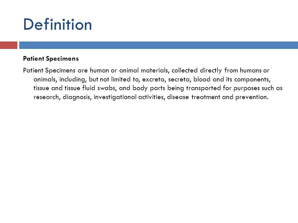 Definition Patient Specimens