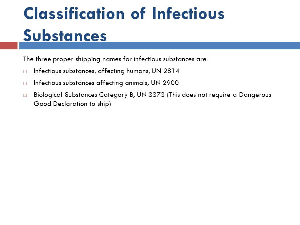 Classification of Infectious Substances