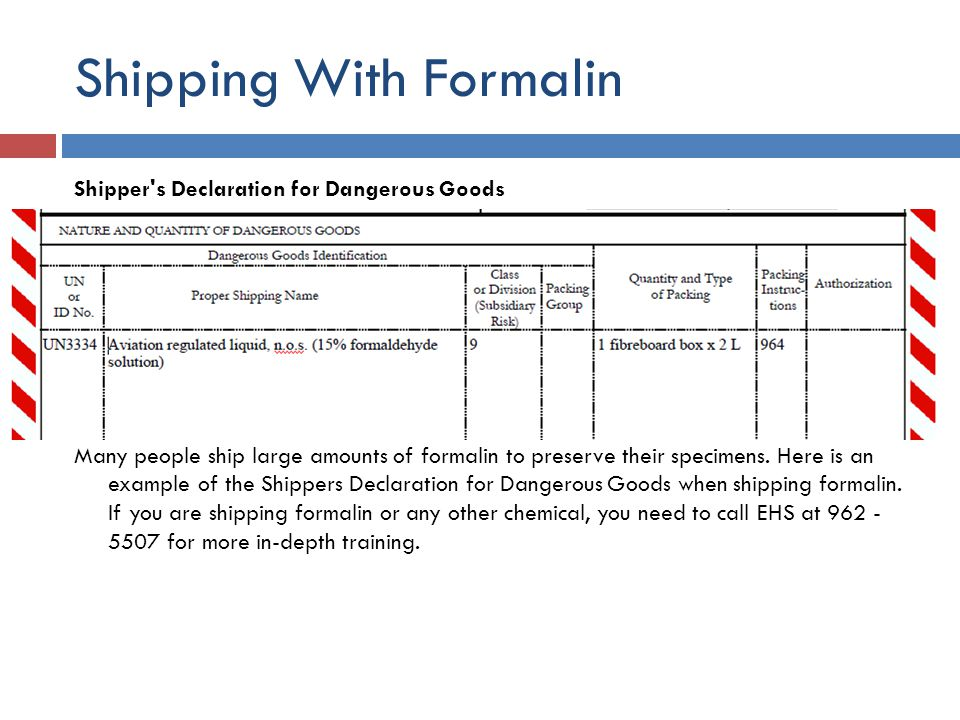 Shipping With Formalin