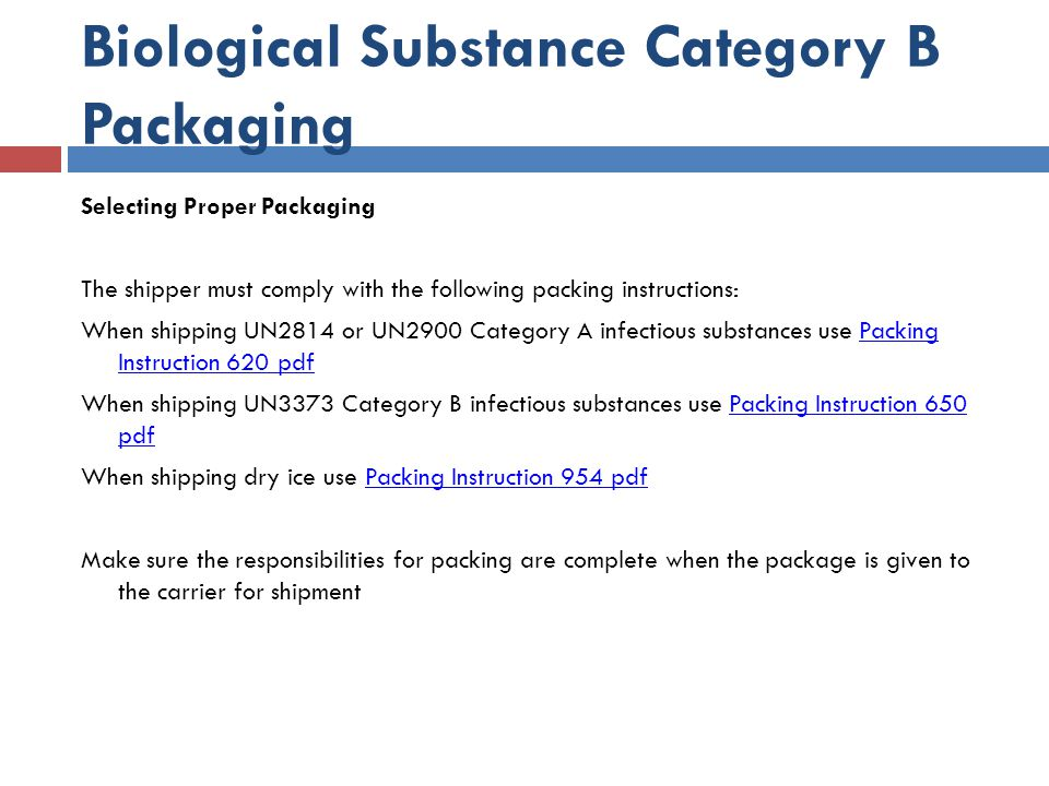 Biological Substance Category B Packaging
