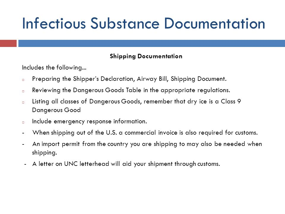 Infectious Substance Documentation