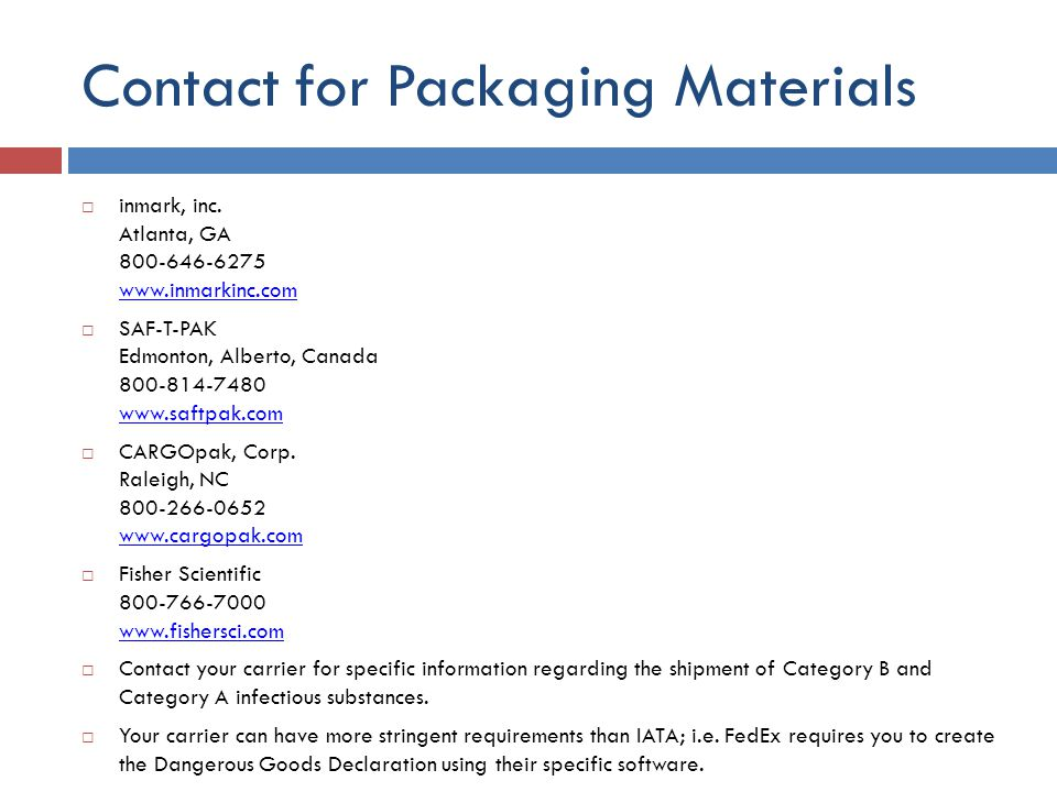 Contact for Packaging Materials