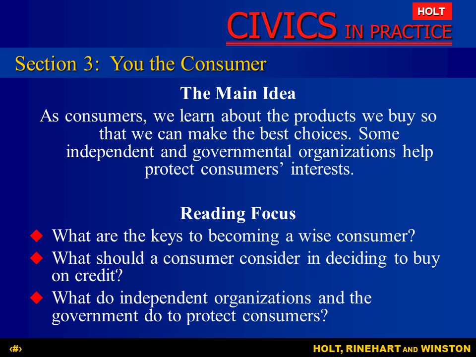 Section 3: You the Consumer