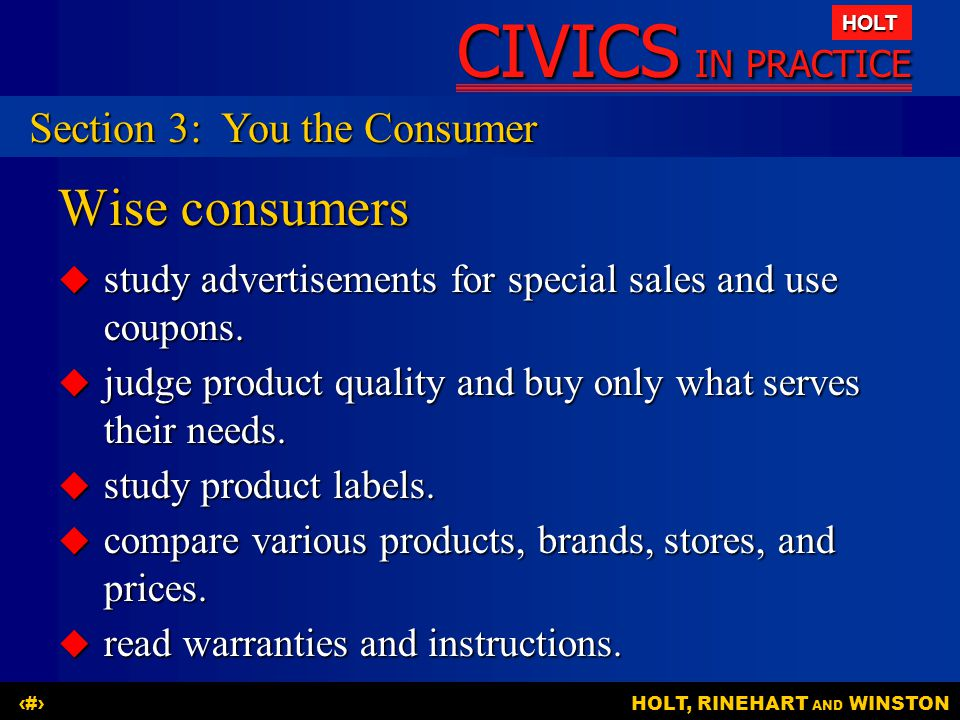 Wise consumers Section 3: You the Consumer