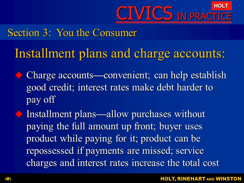 Installment plans and charge accounts: