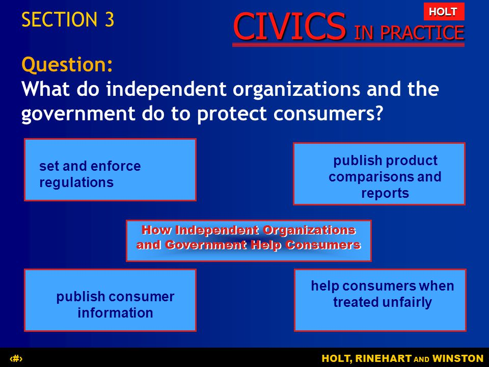 SECTION 3 Question: What do independent organizations and the government do to protect consumers set and enforce regulations.
