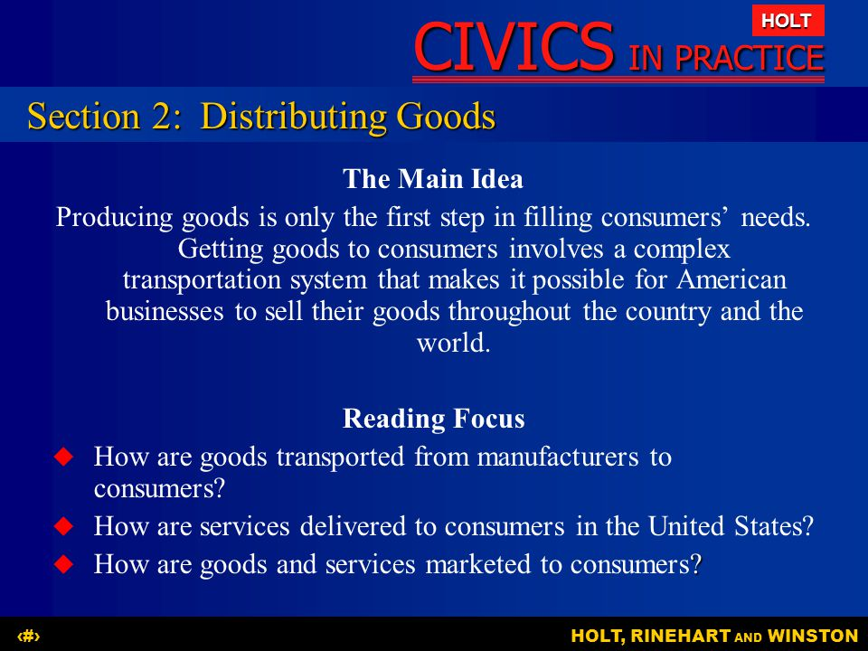 Section 2: Distributing Goods