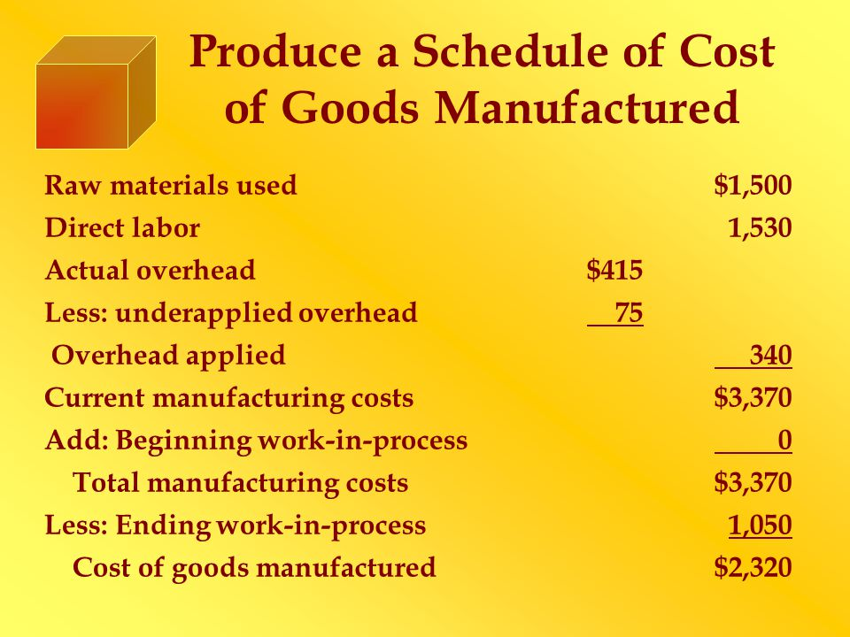 Produce a Schedule of Cost of Goods Manufactured