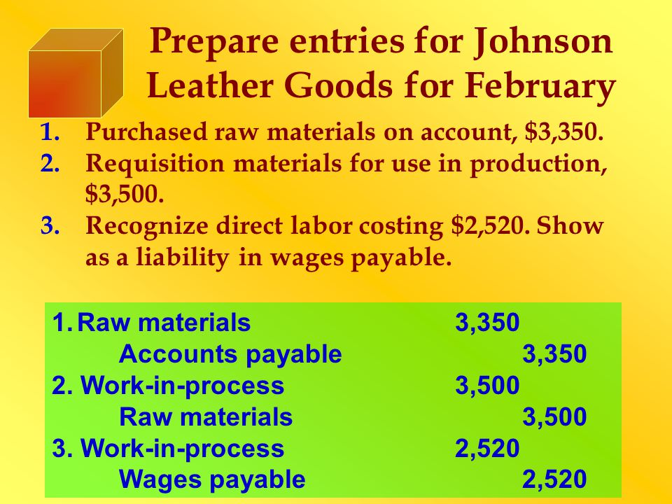 Prepare entries for Johnson Leather Goods for February