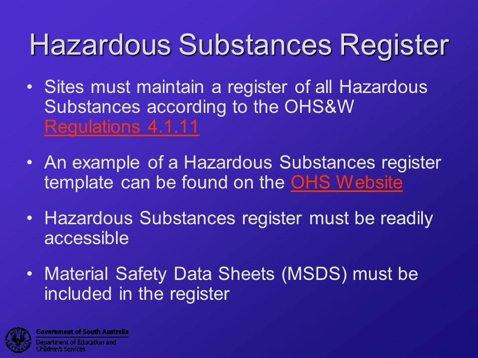 Hazardous Substances Register