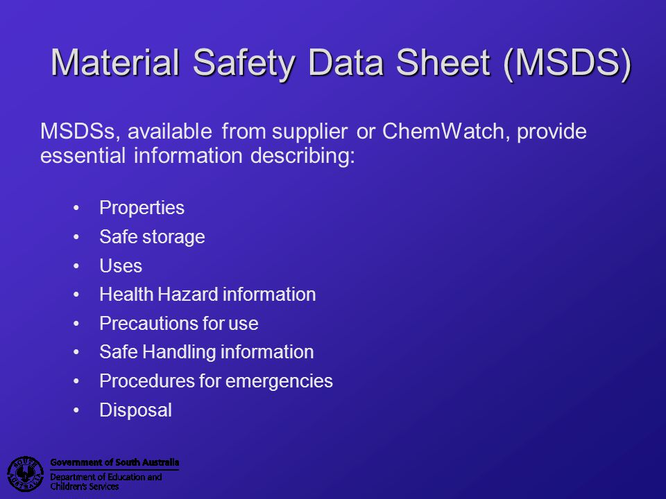 Material Safety Data Sheet (MSDS)