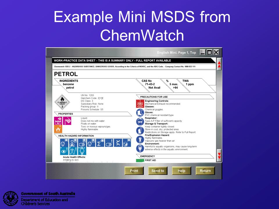 Example Mini MSDS from ChemWatch