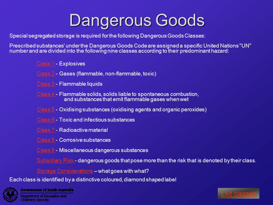 Dangerous Goods Exit classes