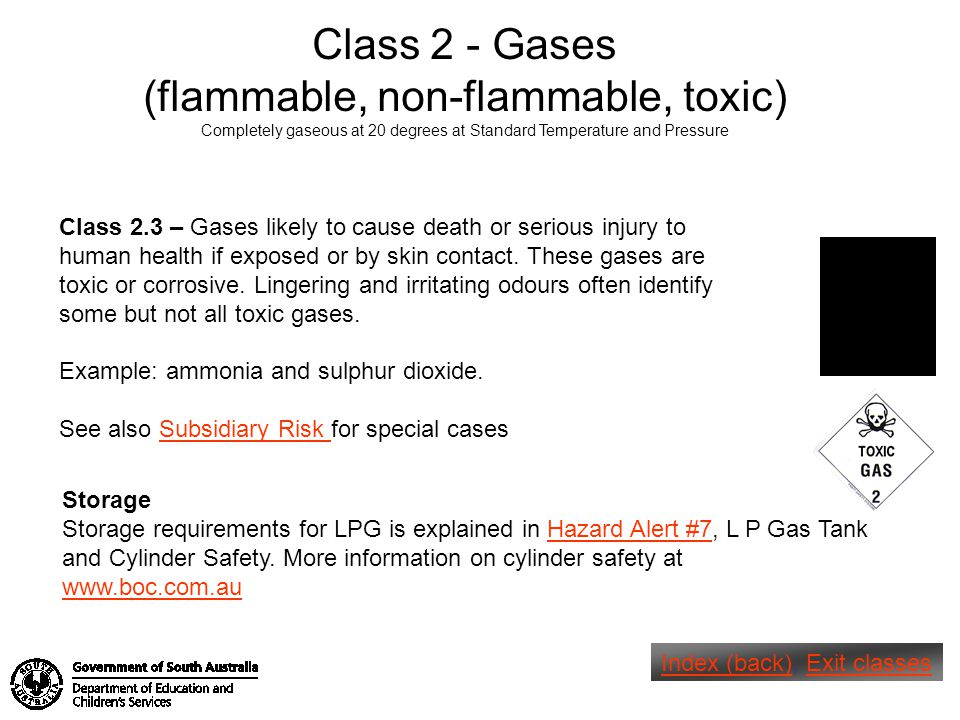 (flammable, non-flammable, toxic)