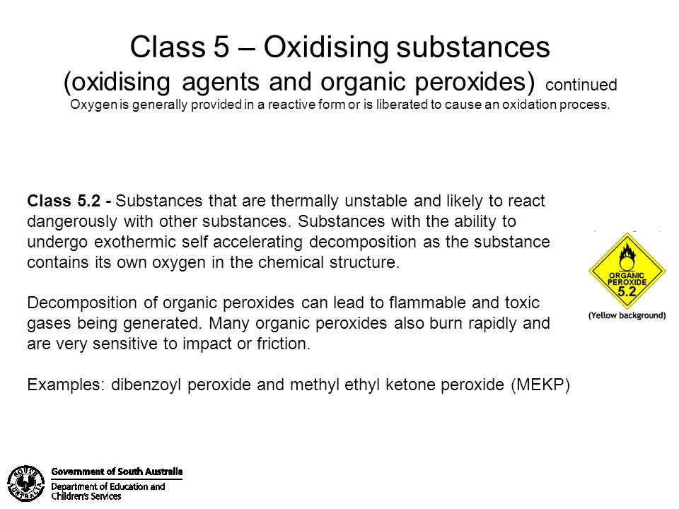 Class 5 – Oxidising substances