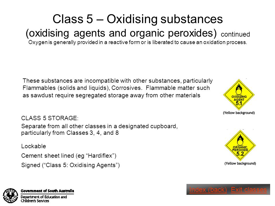 Class 5 – Oxidising substances