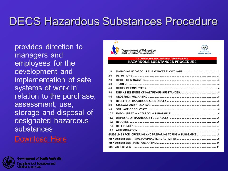 DECS Hazardous Substances Procedure