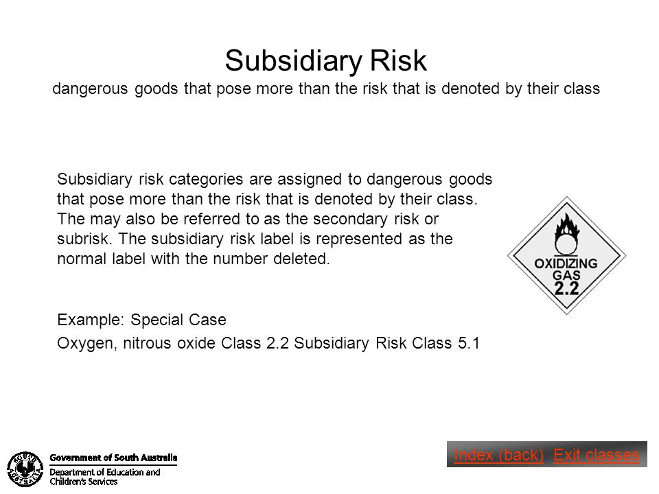 Subsidiary Risk dangerous goods that pose more than the risk that is denoted by their class.