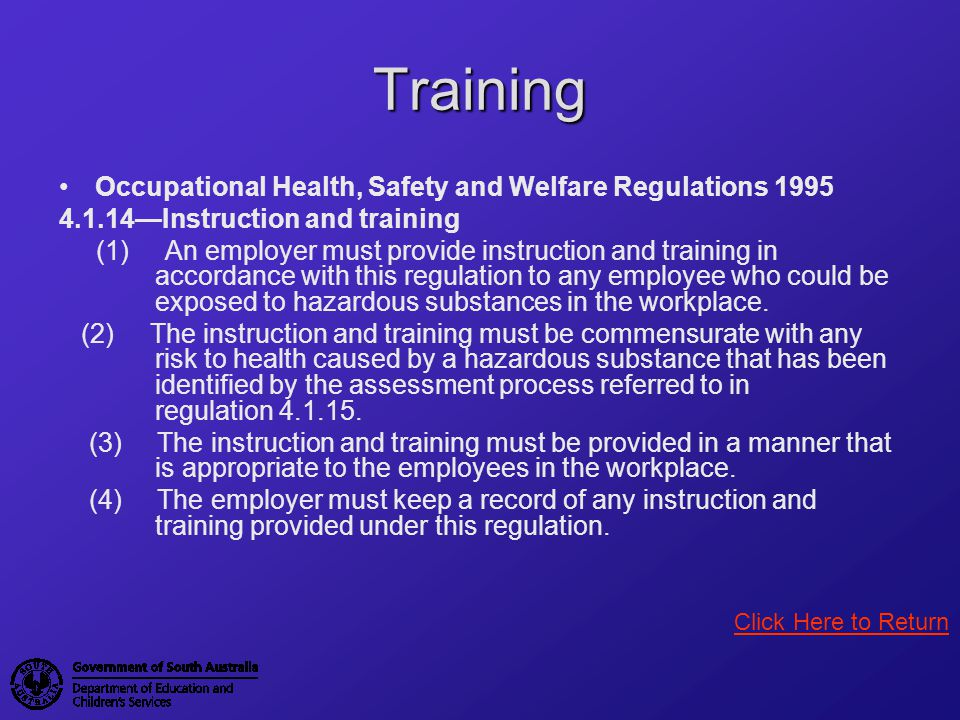 Training Occupational Health, Safety and Welfare Regulations 1995