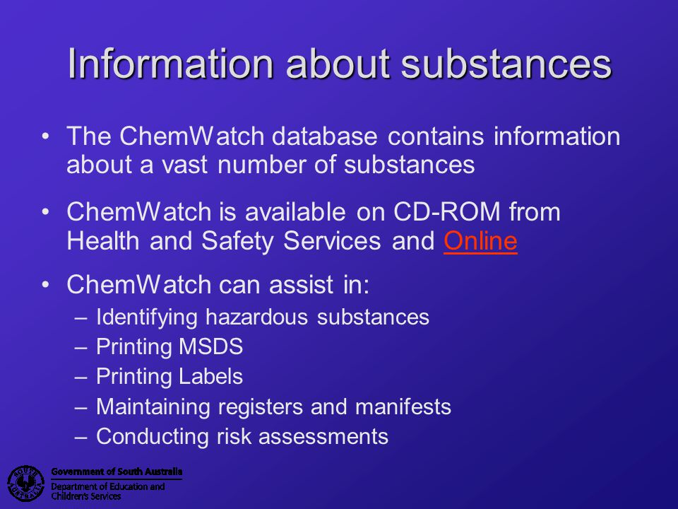 Information about substances