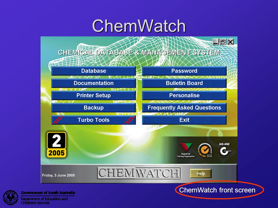 ChemWatch ChemWatch front screen
