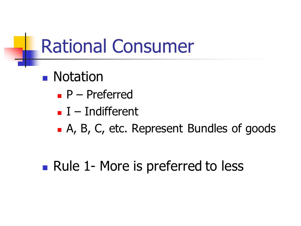 Rational Consumer Notation Rule 1- More is preferred to less
