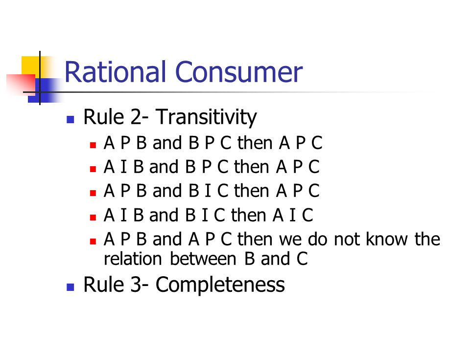 Rational Consumer Rule 2- Transitivity Rule 3- Completeness