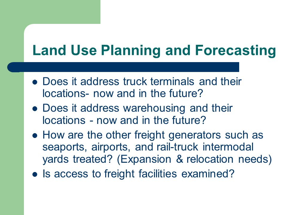 Land Use Planning and Forecasting