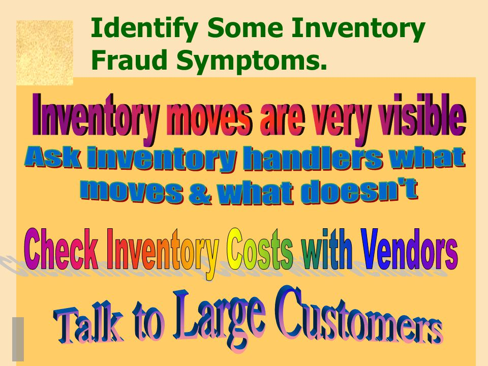 Identify Some Inventory Fraud Symptoms.