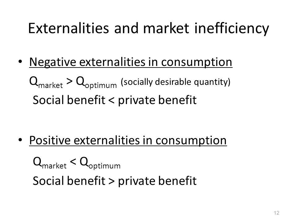 Externalities and market inefficiency