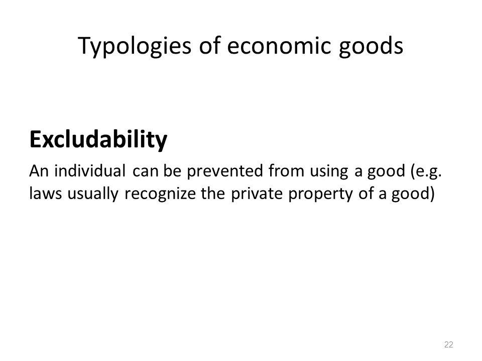 Typologies of economic goods