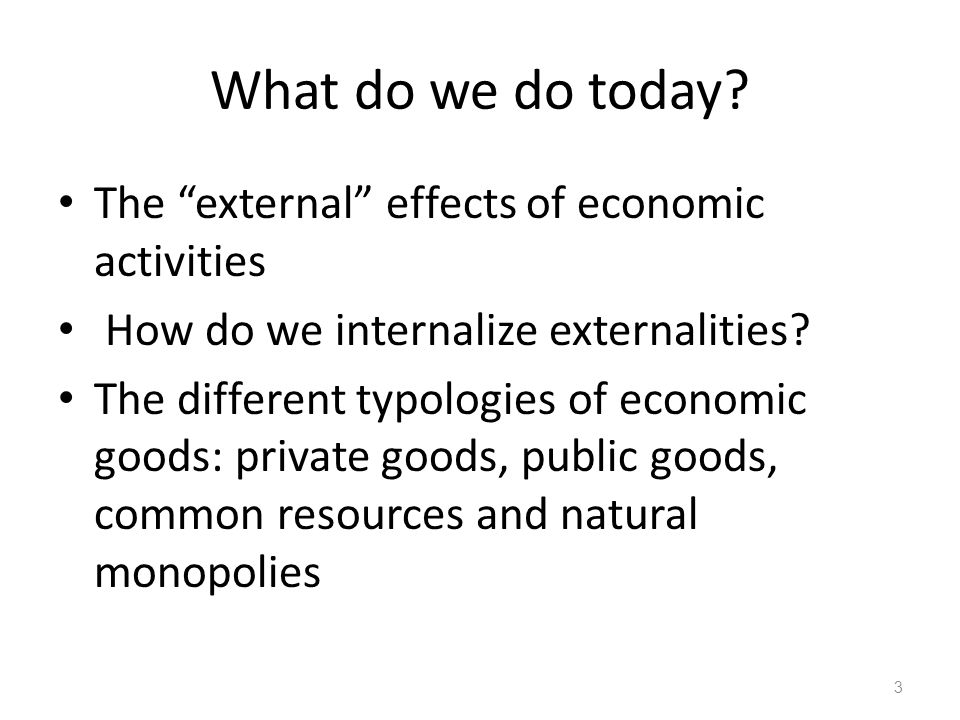 What do we do today The external effects of economic activities