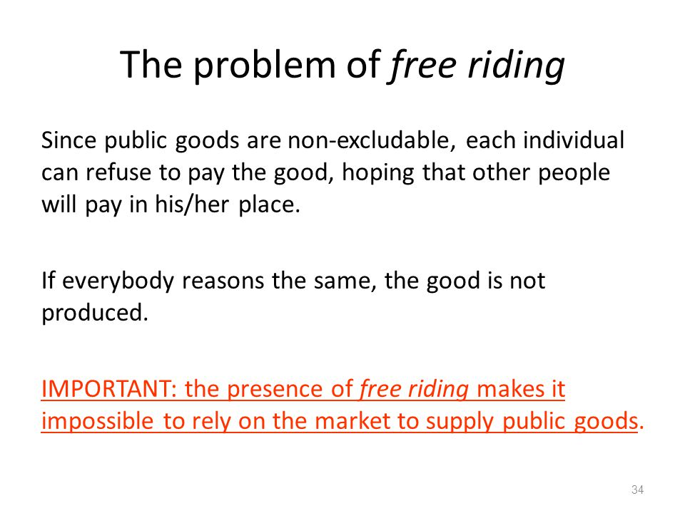 The problem of free riding