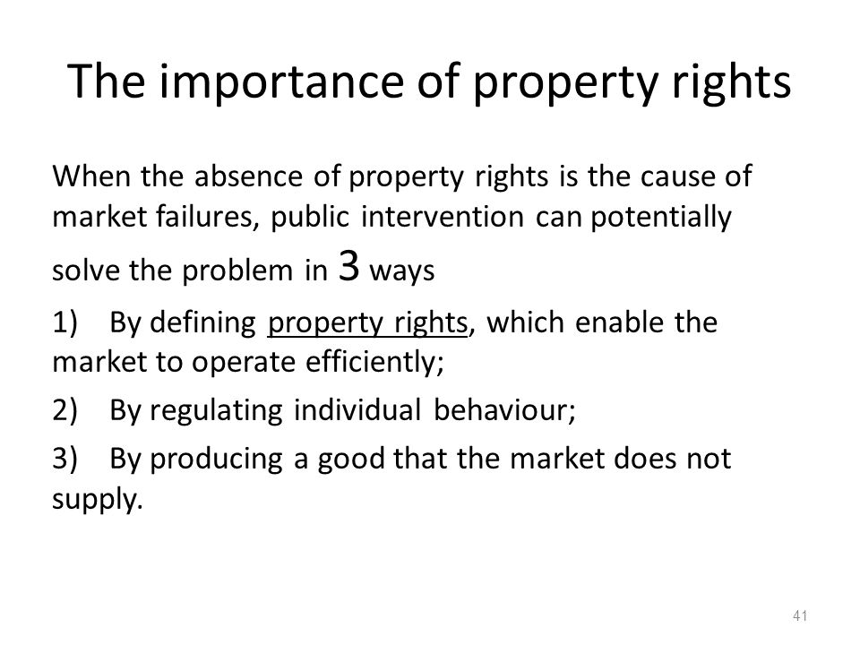 The importance of property rights