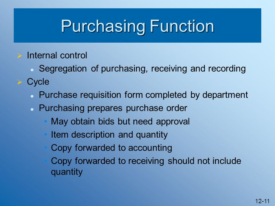 Purchasing Function Internal control