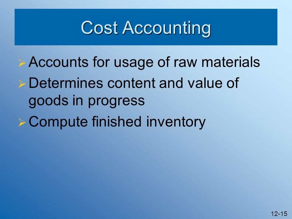 Cost Accounting Accounts for usage of raw materials