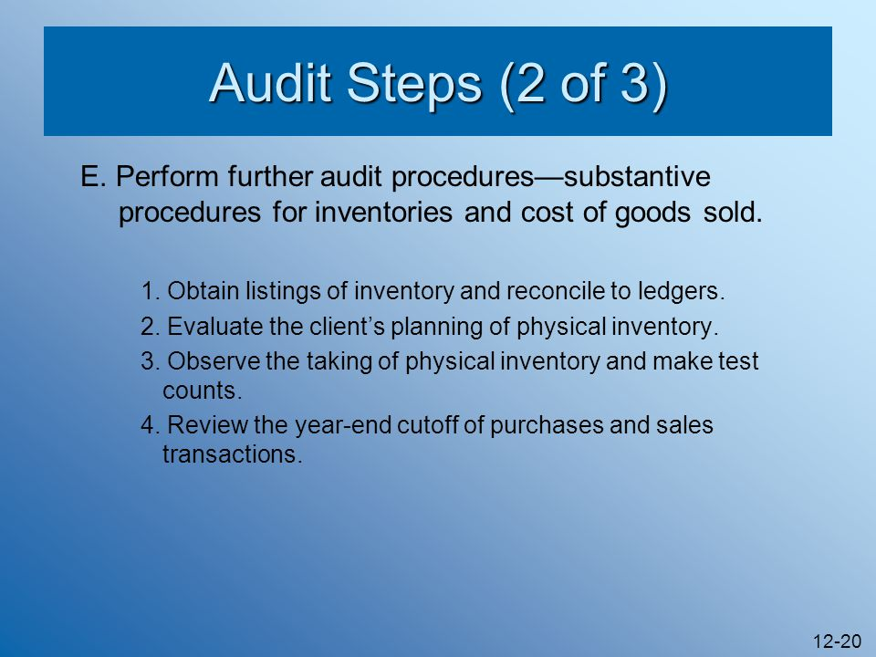 objectives in the audit of inventories and cost of goods sold adequacy and clerical accuracy Cost of goods sold, not inventory the audit procedure 'check goods received notes' does not mention why the goods sa_nov12_f8_fau_proceduresdoc.