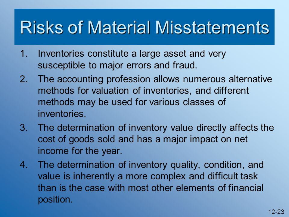 Risks of Material Misstatements