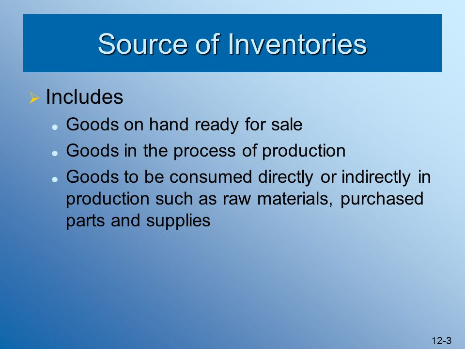 Source of Inventories Includes Goods on hand ready for sale