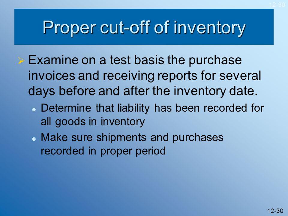 Proper cut-off of inventory