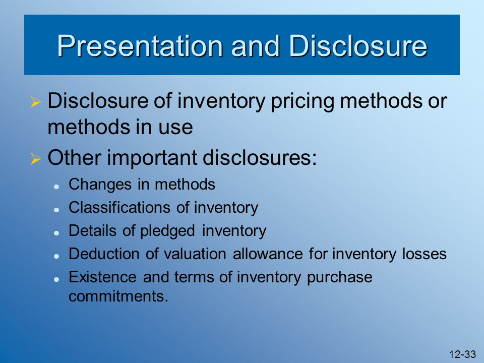 Presentation and Disclosure