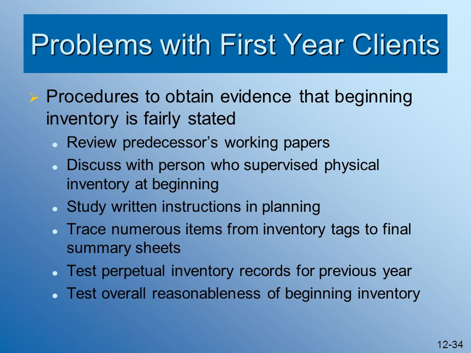 Problems with First Year Clients