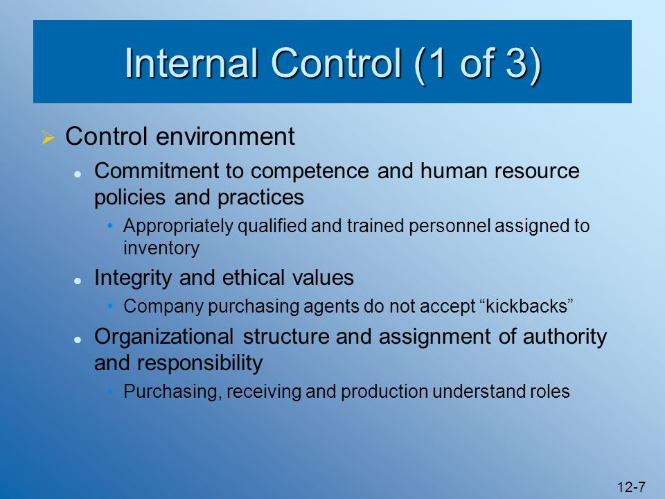 Internal Control (1 of 3) Control environment