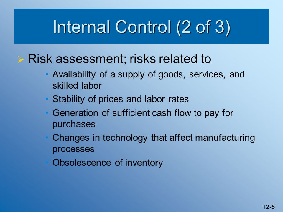 Internal Control (2 of 3) Risk assessment; risks related to