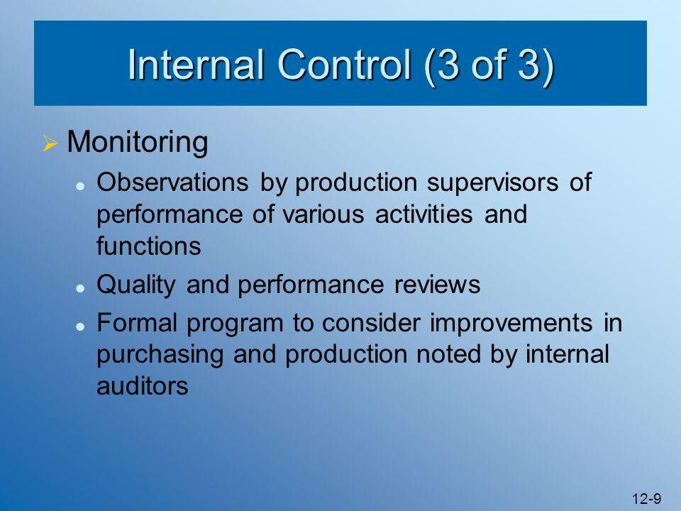 Internal Control (3 of 3) Monitoring