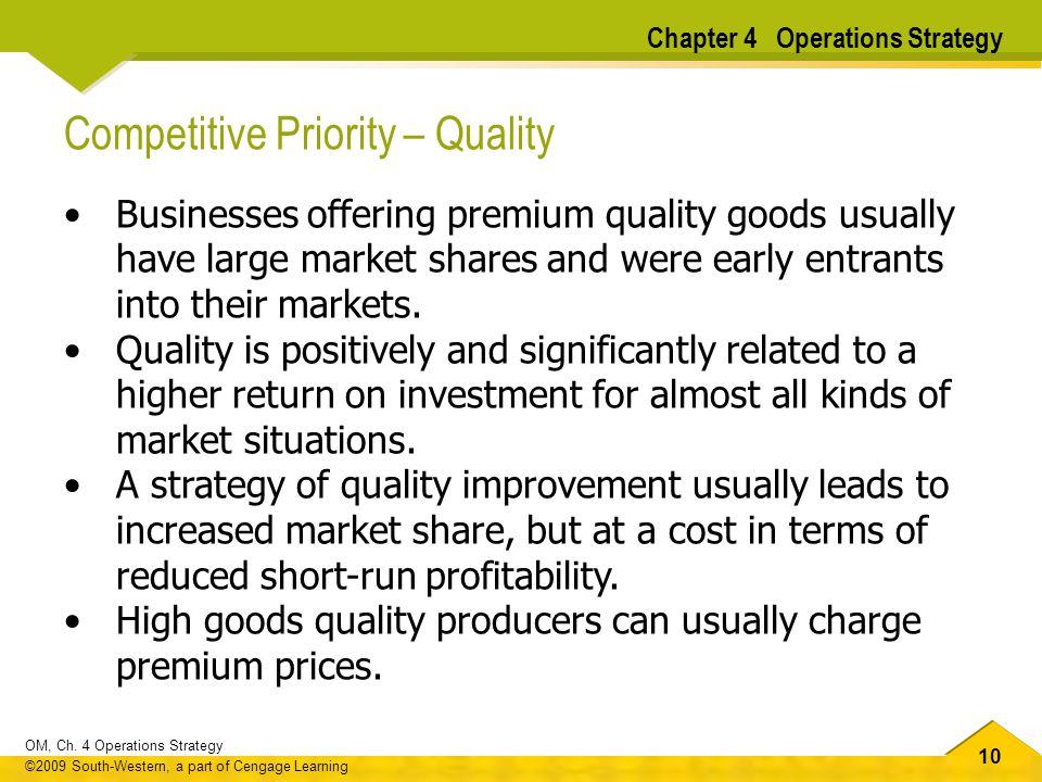 Competitive Priority – Quality
