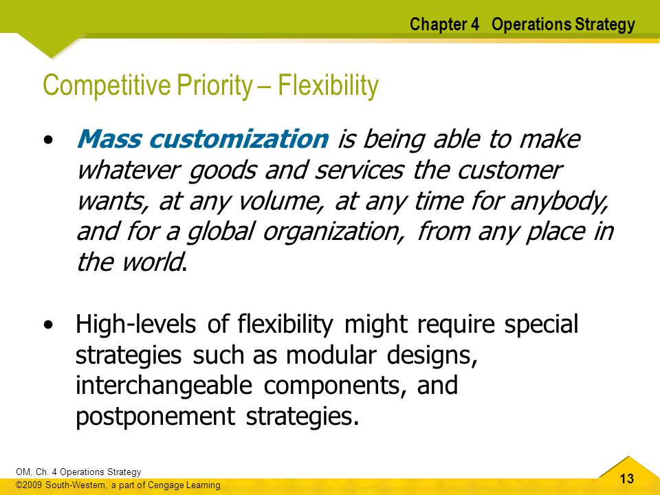 Competitive Priority – Flexibility