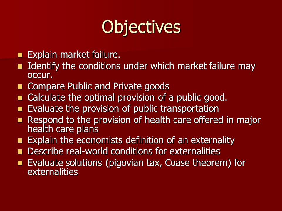 Objectives Explain market failure.
